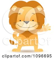 Clipart Friendly Lion Waving And Standing Upright Royalty Free Vector Illustration