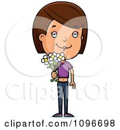Clipart Brunette Adolescent Teenage Girl Holding Out Flowers Royalty Free Vector Illustration