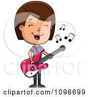Clipart Brunette Adolescent Teenage Girl Playing A Guitar Royalty Free Vector Illustration