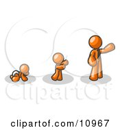 An Orange Person In His Growth Stages Of Life As A Baby Child And Adult Clipart Illustration by Leo Blanchette