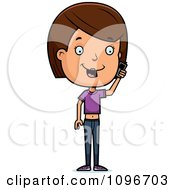 Clipart Brunette Adolescent Teenage Girl Talking On A Cell Phone Royalty Free Vector Illustration