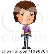 Clipart Depressed Brunette Adolescent Teenage Girl Royalty Free Vector Illustration