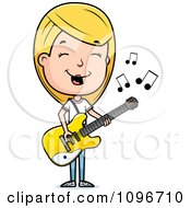 Blond Adolescent Teenage Girl Playing A Guitar