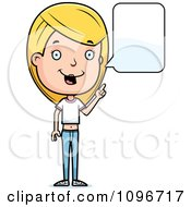Clipart Blond Adolescent Teenage Girl Talking Royalty Free Vector Illustration by Cory Thoman