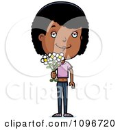 Clipart Black Adolescent Teenage Girl Holding Out Flowers Royalty Free Vector Illustration by Cory Thoman