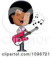 Clipart Black Adolescent Teenage Girl Playing A Guitar Royalty Free Vector Illustration