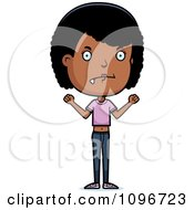 Clipart Mad Black Adolescent Teenage Girl Royalty Free Vector Illustration
