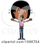 Clipart Scared Black Adolescent Teenage Girl Royalty Free Vector Illustration