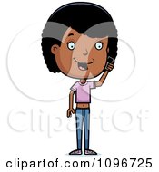 Clipart Black Adolescent Teenage Girl Talking On A Cell Phone Royalty Free Vector Illustration by Cory Thoman