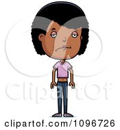 Clipart Depressed Black Adolescent Teenage Girl Royalty Free Vector Illustration