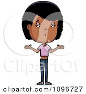 Clipart Careless Black Adolescent Teenage Girl Shrugging Royalty Free Vector Illustration