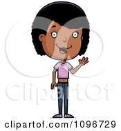 Clipart Friendly Black Adolescent Teenage Girl Waving Royalty Free Vector Illustration by Cory Thoman