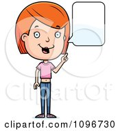 Clipart Red Head Adolescent Teenage Girl Talking Royalty Free Vector Illustration