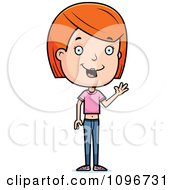 Clipart Friendly Red Head Adolescent Teenage Girl Waving Royalty Free Vector Illustration