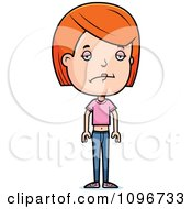 Clipart Depressed Red Head Adolescent Teenage Girl Royalty Free Vector Illustration by Cory Thoman