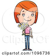 Clipart Red Head Adolescent Teenage Girl Holding Out Flowers Royalty Free Vector Illustration