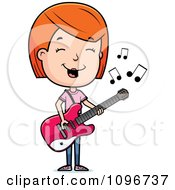 Clipart Red Head Adolescent Teenage Girl Playing A Guitar Royalty Free Vector Illustration by Cory Thoman