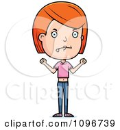 Clipart Mad Red Head Adolescent Teenage Girl Royalty Free Vector Illustration