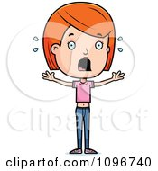 Clipart Scared Red Head Adolescent Teenage Girl Royalty Free Vector Illustration by Cory Thoman