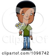 Clipart Black Adolescent Teenage Boy Holding Out Flowers Royalty Free Vector Illustration
