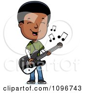 Clipart Black Adolescent Teenage Boy Playing A Guitar Royalty Free Vector Illustration