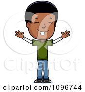 Clipart Happy Black Adolescent Teenage Boy With Open Arms Royalty Free Vector Illustration by Cory Thoman