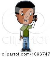 Clipart Black Adolescent Teenage Boy Talking On A Cell Phone Royalty Free Vector Illustration