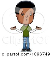 Clipart Careless Black Adolescent Teenage Boy Shrugging Royalty Free Vector Illustration