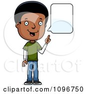Clipart Black Adolescent Teenage Boy Talking Royalty Free Vector Illustration by Cory Thoman