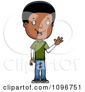 Clipart Friendly Black Adolescent Teenage Boy Waving Royalty Free Vector Illustration by Cory Thoman
