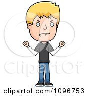 Clipart Mad Blond Adolescent Teenage Boy Royalty Free Vector Illustration