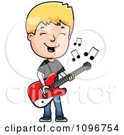 Clipart Blond Adolescent Teenage Boy Playing A Guitar Royalty Free Vector Illustration by Cory Thoman