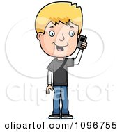 Clipart Blond Adolescent Teenage Boy Talking On A Cell Phone Royalty Free Vector Illustration by Cory Thoman