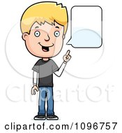 Clipart Blond Adolescent Teenage Boy Talking Royalty Free Vector Illustration
