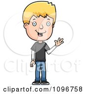 Clipart Blond Adolescent Teenage Boy Waving Royalty Free Vector Illustration by Cory Thoman
