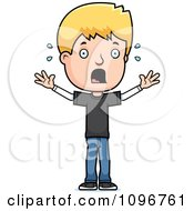 Clipart Stressed Blond Adolescent Teenage Boy Royalty Free Vector Illustration by Cory Thoman