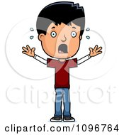 Clipart Scared Adolescent Teenage Boy Royalty Free Vector Illustration