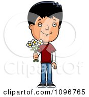 Clipart Adolescent Teenage Boy Holding Out Flowers Royalty Free Vector Illustration