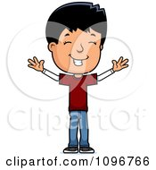 Clipart Happy Adolescent Teenage Boy With Open Arms Royalty Free Vector Illustration