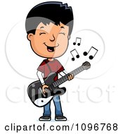 Clipart Adolescent Teenage Boy Playing A Guitar Royalty Free Vector Illustration