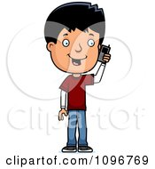 Clipart Adolescent Teenage Boy Talking On A Cell Phone Royalty Free Vector Illustration