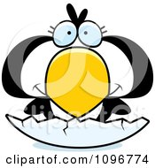 Clipart Penguin Chick Hatching From An Egg Royalty Free Vector Illustration