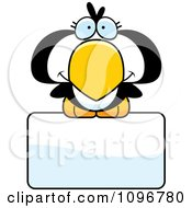 Clipart Cute Penguin Chick Over A Sign Royalty Free Vector Illustration