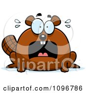 Clipart Scared Chubby Beaver Royalty Free Vector Illustration