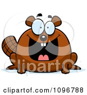 Clipart Happy Chubby Beaver Royalty Free Vector Illustration by Cory Thoman