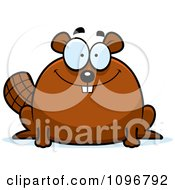 Clipart Smiling Chubby Beaver Royalty Free Vector Illustration by Cory Thoman