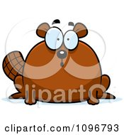 Clipart Surprised Chubby Beaver Royalty Free Vector Illustration