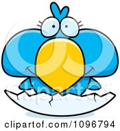 Clipart Cute Blue Bird Chick Hatching From An Egg Shell Royalty Free Vector Illustration by Cory Thoman