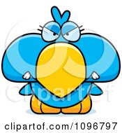 Clipart Mad Blue Bird Chick Royalty Free Vector Illustration by Cory Thoman