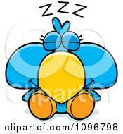 Clipart Sleeping Blue Bird Chick Royalty Free Vector Illustration by Cory Thoman